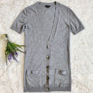 THEORY Short Sleeve Button Front Wool Cardigan